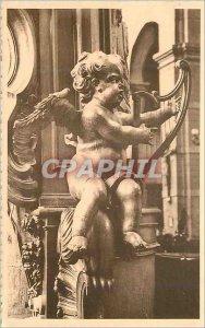 Old Postcard Mons Nicolas Church in Havre Angel Harp musicen