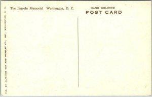 Washington DC Hand-Colored Postcard LINCOLN MEMORIAL Cherry Blossoms / Albertype