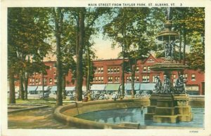 St Albans Vermont Main Street from Taylor Park 1932 Postcard USED