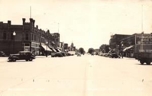 St Peter MN~Pure Gas~Arthur's Department Store~Funeral Directors~1945 RPPC