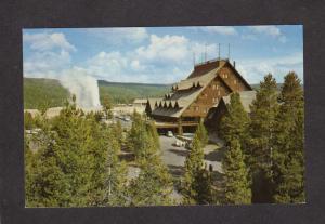 WY Old Faithful Inn Hotel Yellowstone National Natl Park Wyoming Postcard Geyser
