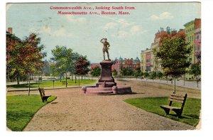 Commonwealth Ave, Boston, Massachusetts, Used 1911 Flag Cancel