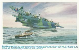 Short Sunderland Mk I Airplane , 40-50s ; Artist A.F.D.BANNISTER