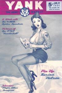 Postcard 1944 YANK, Army Weekly Magazine Cover, Pin Up Girl Katrina Nelson #663