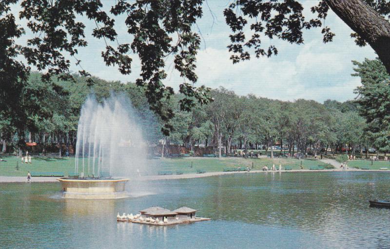 Illuminated Fountain in La Fontaine Park, Montreal, Quebec, Canada, 50-60s
