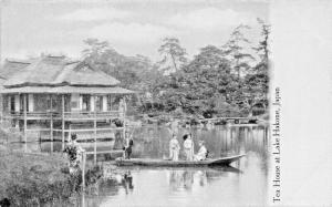 LAKE HAKONE JAPAN~TEA HOUSE-FAIR MAIDENS IN LIGHT BOATS POSTCARD