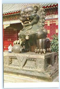 Hong Kong Summer Palace Bronze Lion Statue Vintage 4x6 Postcard A51