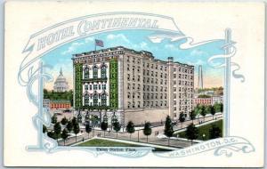 Washington DC Postcard HOTEL CONTINENTAL Artist's View Union Station Plaza
