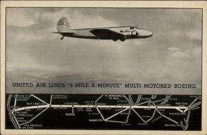 United Air Lines Boeing Airplane in Flight Route Map Postcard