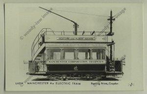 pp1024 - Manchester - 4w Electric Tram to Hightown       - Pamlin postcard