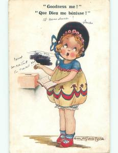 Pre-Linen foreign signed CUTE FRENCH GIRL PUTS COIN IN BOX k6741