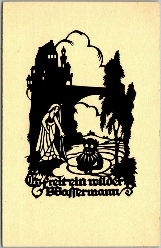 Vintage GERMAN Silhouette Greetings Postcard Fairy Tale Fantasy c1910s Unused