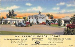 West Palm Beach Florida~Mt Vernon Motor Lodge~Cars Parked~1940s Duncan Hines Pc