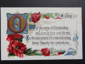 Embossed Poppies Postcard: OONE OF THE JOYS OF FRIENDSHIP.... Donation to R.B.L.
