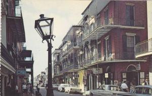 Lace work balconies on St. Peter Street in the French Quearter,  New Orleans,...
