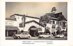 Hollywood CA The Brown Derby 'Eating Place of The Stars Old Cars RPPC Postcard