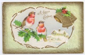 Christmas Birds Gold Bells Holly Snowy Cottage Embossed Vntg 1912 Gilt Postcard