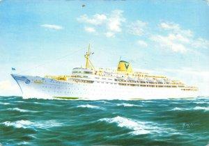 Postcard, TV Fairsky Turbine Steam Ship Cruise Liner, Sitmar Line 64Z