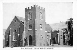 Mangum Oklahoma First Presbyterian Church Street View Antique Postcard K20611