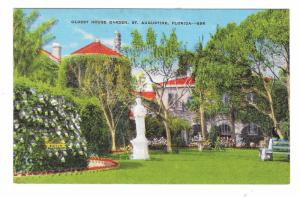 St Augustine FL Oldest House Garden Vintage E C Kropp Linen Postcard