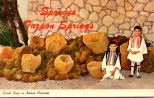 Florida Tarpon Springs Greek Boys In Native Costume With Large Catch Of Sponges