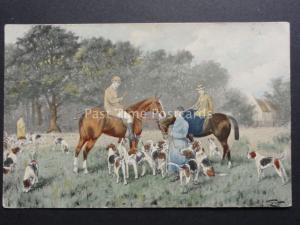 M.M.Vienne Postcard - Fox Hunting & Hounds - Old Postcard No.397 Art by G.Wright