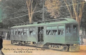 Guildford Connecticut Green Fair Day Trolley Car Vintage Postcard AA2030