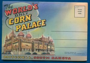 Worlds only Corn Palace Mitchell South Dakota sd linen postcard folder