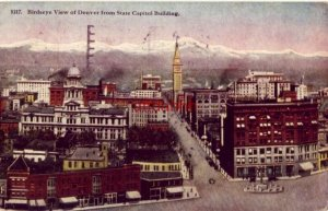 BIRDSEYE VIEW OF DENVER, CO FROM STATE CAPITOL BUILDING 1916