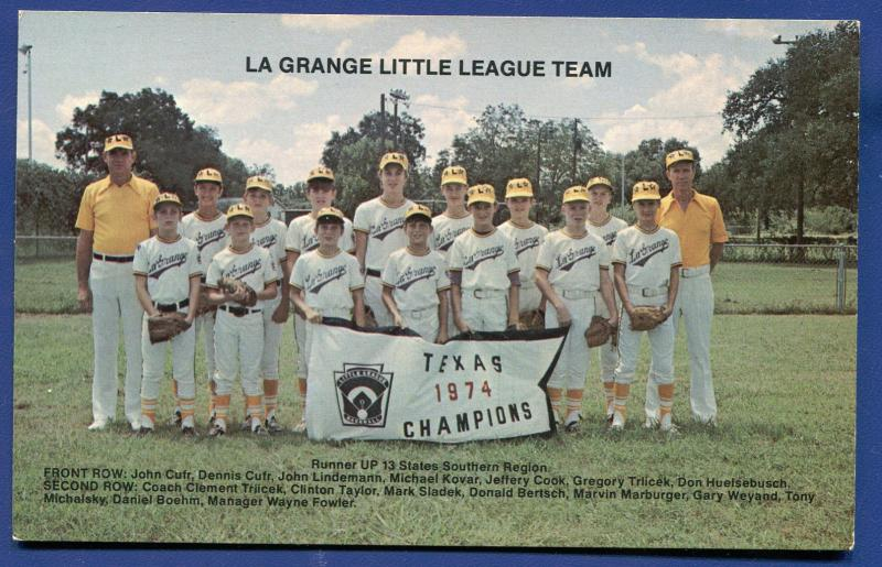 La Grange Texas tx Little League Team 1974 Champions named player postcard