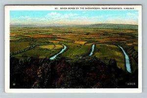 Woodstock VA, Seven Bends Of The Shenandoah River, Vintage Virginia Postcard
