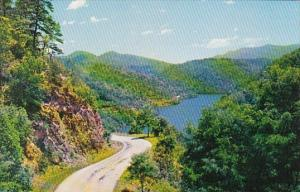 Highway Along Lake Cheoah Leading To Fontana Dam North Carolina
