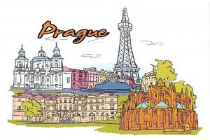 Glossy Art Postcard, Prague, Czech Republic Landmarks, City, View, Travel 61O