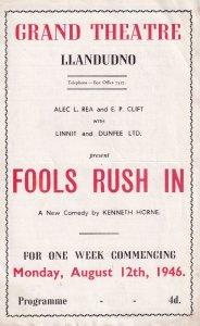 Iris Vandeleur of Sherlock Holmes 1950s TV Series Welsh Theatre Programme