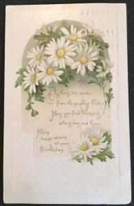 Postcard Used Birthday Flowers/Bee LB