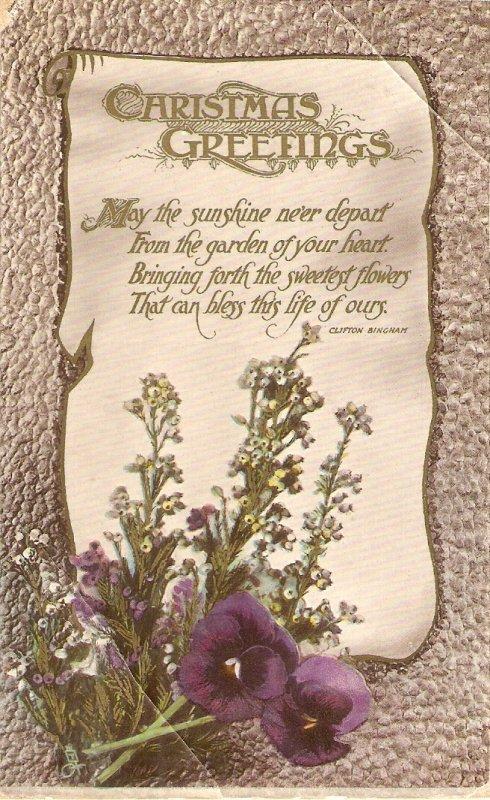 Christmas Message. Flowers Tuck Gem Christmas  Ser. PC # C1089