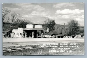 MINEOLA MO GAS STATION LIVING SPRING CAMP VINTAGE REAL PHOTO POSTCARD RPPC