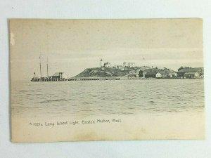 Vintage Postcard 1900's Long Island Light Boston Harbor MA Massachusetts