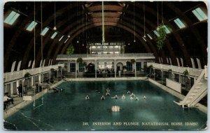 1913 Boise, Idaho Postcard Interior & Plunge, Natatorium Indoor Swimming Pool