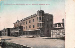 Benton Harbor MI~Saltzman Hotel & Mineral Baths~Big Opera House Billboard~1906