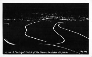 Lewiston Hill Idaho Car Light Sketch Real Photo Antique Postcard K98494