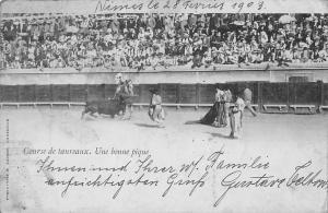 Corrida Course de taureaux, Une bonne pique, bullfighting 1903