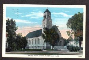 MAINE Waterville Sacred Heart Catholic Church Postcard