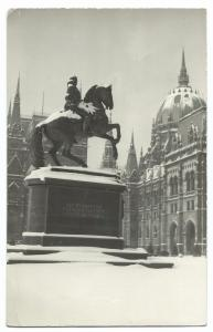 Budapest, Equestrian Statue, Kossuth RP PPC 1957 PMK to BBC Hungarian Service!