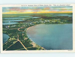 Linen AERIAL VIEW OF TOWN Winter Haven - Near Lakeland & Lake Wales FL F4022