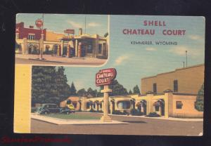 KEMMERER WYOMING SHELL CHATEAU COURT GAS STATION LINEN ADVERTISING POSTCARD