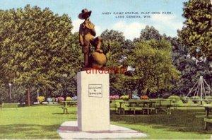 ANDY GUMP STATUE, FLAT IRON PARK. LAKE GENEVA, WI