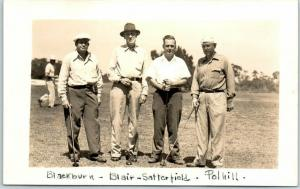 Vintage RPPC Real Photo Postcard GOLFING FOURSOME 4 Men Golfers April 1946