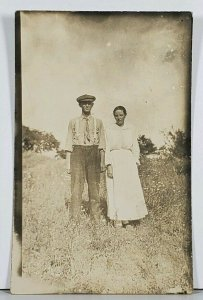 RPPC Man and Woman in Field Hagerstown Md Family Est Postcard K2