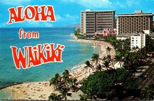 Hawaii Waikiki Aloha Showing Beach 1981